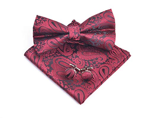 Massi Morino Set di papillon Paisley - con papillon, fazzoletto, gemelli da polso incl. confezione regalo, papillon da uomo in vari colori (Rosso scuro)