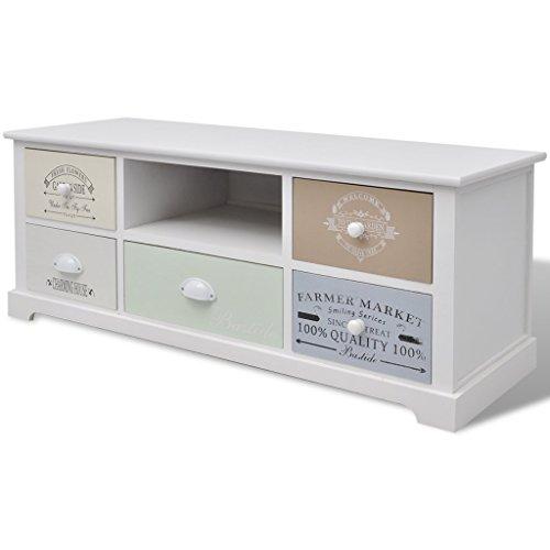 Festnight Shabby Chic Landhausstil Schrank Schubladenschrank mit 5 Schubladen als Beistellschr?nkchen für Flur, Schlaf- oder Wohnzimmer