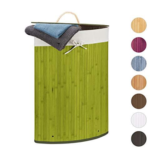Relaxdays, grün Eckwäschekorb, Faltbare Wäschebox 60 l, platzsparend, Wäschesack Baumwolle, HBT 65 x 49,5 x 37 cm