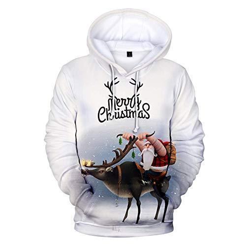 KEERADS Unisex Hoodie Herren Weihnachtspullover Baumwolle Pullover 3D Funny Weihnachtsmotiv Kapuzenjacke Graphic Sweatjacke Swearshirt mit Kapuze Hoody Sportswear mit Taschen