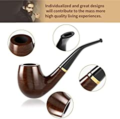 Joyoldelf Wooden Tobacco Smoking Pipe, Pear Wood Pipe with Pipe Cleaners, 9 mm Pipe Filters, 3-in-1 Pipe Scraper, Pipe Bits, Metal Balls, Cork Knockers, Bonus a Pipe Pouch with Gift Box #1