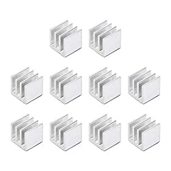 uxcell 10x10x10mm Silver Tone Aluminum Heatsink Thermal Adhesive Pad Cooler for Cooling 3D Printers 10Pcs