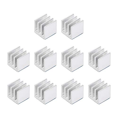 sourcing map 10x10x10mm Silver Tone Aluminum Heatsink Thermal Adhesive Pad Cooler for Cooling 3D Printers 10Pcs