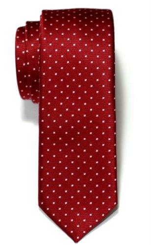 Retreez Herren Schmale Gewebte Krawatte Kleinen Punkten 5 cm - weinrot mit rosa punkten