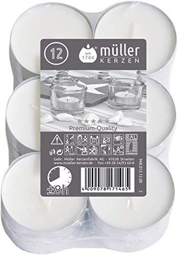 Maxi-Lichte Jumbo-Teelichter in Alu-Hülle 12 Stück 6cm Durchmesser