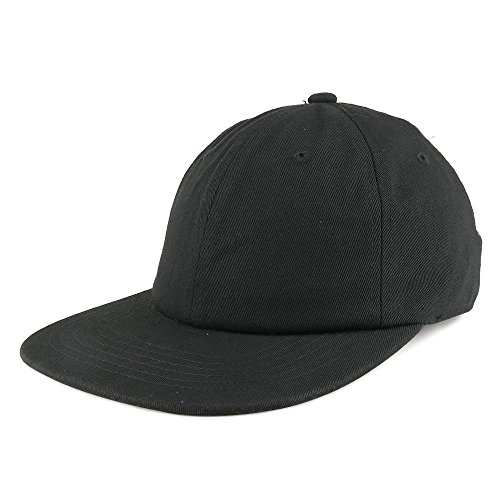 Trendy Apparel Shop Low Profile Plain Unstructured Crown Flatbill Snapback Cap - Black