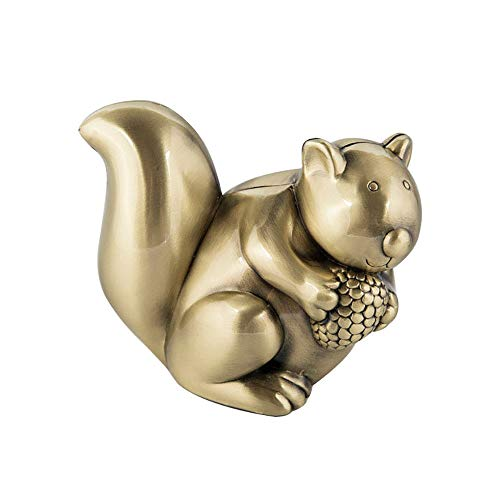 Wguili Geld Boxen European Creative Nette Eichhörnchen-Spardosen Münzen-Piggy Bank Metal Crafts Kinder Geschenke Geeignet als Geschenk für Familie und Freunde (Color : Brass, Size : 11x6.5x8.5cm)