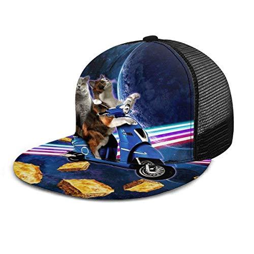 NA Gorra de béisbol Cat Riding Scooter Viaje con Space Lazer Galaxy Unisex Flat Brim Hat Gorras de béisbol