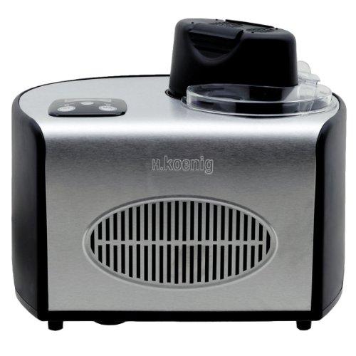 H.Koenig Máquina para Hacer Helados Caseros y Sorbetes, con Compresor 150 W, 1,5 litros, Acero Inoxidable HF250, Negro y gris