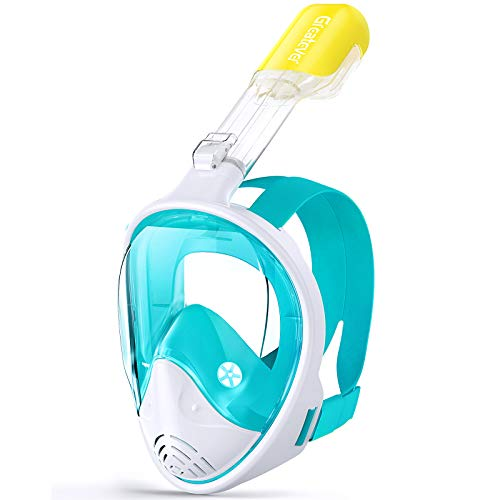 Greatever Snorkel Mask Foldable Panoramic View Full Face Snorkeling Mask with Detachable Camera Mount, Dry Top Set Anti-Fog&Anti-Leak, for Adults&Kids