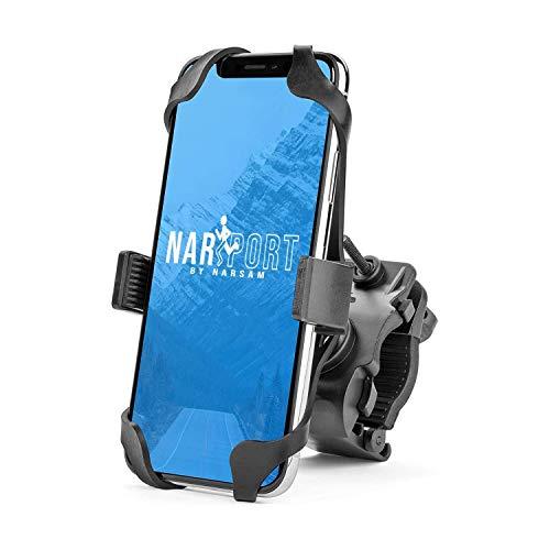 Narsport Porta Cellulare Bici, Supporto Smartphone per Bicicletta, Moto e MTB, per iPhone, Samsung o Altro Telefono, in Silicone e plastica Resistente, Accessori Manubrio Mountain Bike e Monopattino.