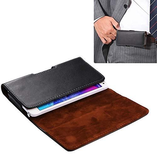 ZHANGYOUDE Funda Universal de Cuero Genuino de Estilo Horizontal/Bolso de Cintura con tablilla Posterior for Samsung Galaxy Note5 y Note4 / S6 Edge / A8, iPhone 6 y 6SS Plus (Color : Black)