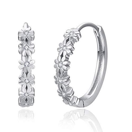 Silver Hoop Earrings For Women 925 Sterling Silver Daisy Flower Cubic Zirconia Earrings Hypoallergenic Huggie Earrings 20mm