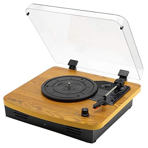 JORLAI Walnuss Plattenspieler Bluetooth 33/45/78 Geschwindigkeit Vinyl-Spieler mit Eingebautem Lautsprecher PC Aufnahme 3,5 mm AUX IN und Kopfhörerausgang für Externe Lautsprecher Frauen Männer