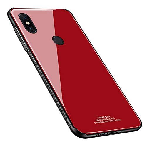 Kepuch Quartz Funda para Xiaomi Mi Mix 3 - TPU Suave + Contraportada Hecha de Vidrio Templado Case Carcasa para Xiaomi Mi Mix 3 - Rojo