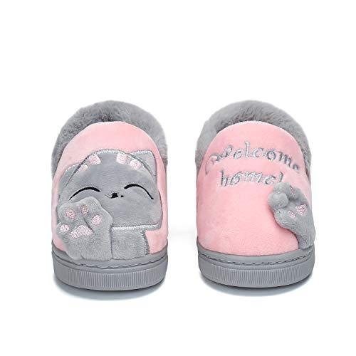 Mishansha Pantofole di Gatto per Bambine e Ragazze Pantofole Invernali Interno Casa Cotone Scarpe Animale Antiscivolo Rosa 35 EU (Dimensione del Produttore 240)