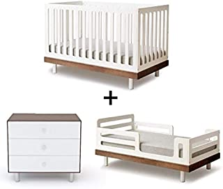 Oeuf Classic Collection Complete Nursery in Walnut with 3 Drawer Dresser