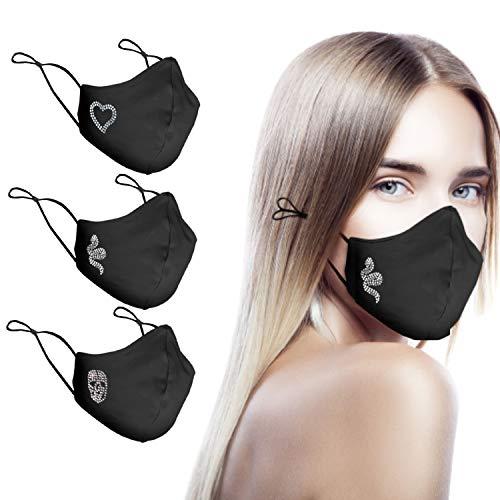 CHIC&LOVE - Banda Facial Reutilizable Negra para Mujer con Diseño Original de Cristales de Colores   Banda Facial Negra Estampado y Lavable hasta 25 Lavados   Para ir a la Moda y Fashion (Serpiente)