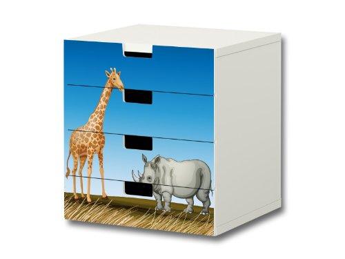 Animales africanos pegatinas muebles | S4K16 | adecuado para la cómoda con 4 cajónes STUVA de IKEA | (mueble no incluido) STIKKIPIX