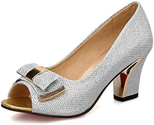 TXHLKD Grande Taille 32-43 Peep Toe Bow Talons Hauts D'été D'été Escarpins Chaussures Femmes élégant OL Femme Chaussures 7.5 Rose  prix équitables