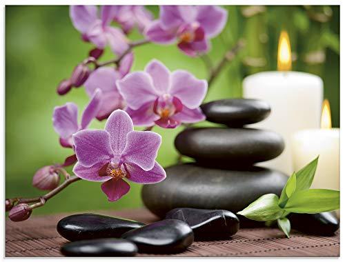 Artland Glasbilder Wandbild Glas Bild einteilig 80x60 cm Querformat Asien Wellness Zen Spa Steine Blumen Blüten Entspannung Pink T5OM