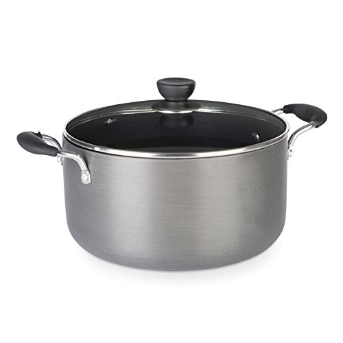 Zinel 4152 Non-Stick Stockpot/Casserole with Hard Anodised Induction Base, Grey, 24 cm