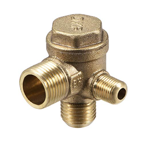 sourcing map Air Compressor Check Valve, G3/8 x G1/4 x G1/8 Male Thread, 3 Way Pneumatic Accessory, Brass