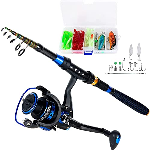 HVX Fishing Rod and Reel Combos with Fishing Line, Lures Kit and Carrier Bag for Saltwater Freshwater, Carbon Fiber Telescopic Fishing Pole Best Gift for Father, Husband, Child Kids or Beginner
