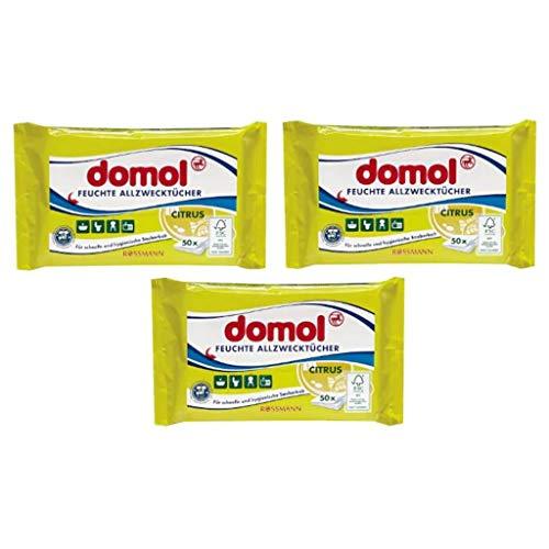 domol Feuchte Allzwecktücher Citrus 1 x 50 Stück für schnelle & hygienische Sauberkeit
