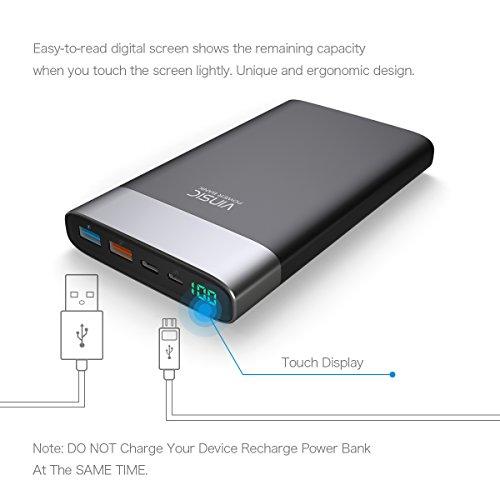 Externe Akku,Vinsic®Power Bank 20000mAh mit Quick Charge USB-Ausgangs-Ports, ein Standard-USB-Ausgang und ein Input & Output Typ-C, 5V/2,4A Externer Akku für Smartphone-Schwarz