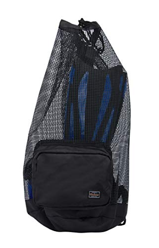PACMAXI Scuba Diving Bag, Oversized Mesh Scuba Diving Backpack for Snorkeling Gear & Equipment, Holds Mask, Fins, Snorkel (Black)