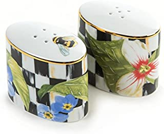 MacKenzie-Childs Salt and Pepper Shaker -Thistle & Bee Black and White, Enamel Courtly Check Print Set of 2 Mini Oval Grinder 1.5