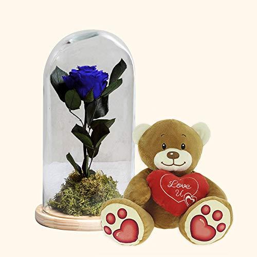 Pack Cúpula Rosa Eterna Azul y Osito de Peluche Corazón- Rosa preservada y Osito de Peluche a domicilio-Regalo San Valentín