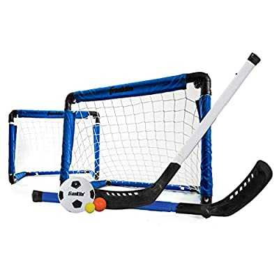 Franklin Sports Indoor Mini Goal Sports Set - 3 in 1 Kids Indoor Goal Set - Indoor Mini Floor Hockey, Knee Hockey, and Mini Soccer Set for Kids from Franklin Sports