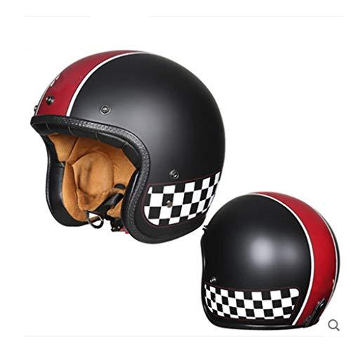Retro Motorradhelm Jethelm Fiberglas Shell DOT/ECE Standard Vierjahreszeitenhelme Für Männer Und Frauen Harley Motorradhalbhelm Helmet Übergroß,XXXXL
