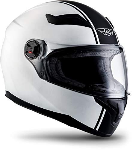 "Moto Helmets® X86 ""Racing Matt White"" · Integral-Helm · Full-Face Motorrad-Helm Roller-Helm Cruiser · ECE Visier Schnellverschluss Tasche M (57-58cm)"
