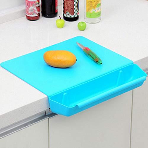 JOELELI Tabla de cortar 2 en 1 para cocina, tabla de cortar con ranura, juego de tablas de cortar antideslizantes, práctica herramienta de cocina con carne de verduras o frutas (azul)