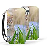 iPhone 12 Mini ケース 5.4インチ 対応 手帳型 高級PUレザー 青い草花とシマリス カード収納 スタンド機能 ストラップ付き サイドマグネット 保護力抜群 耐衝撃 スマホケース 軽量 薄型 財布型 多機能スマホ 手帳ケース 全面保護カバー アイフォン12ミニケース カバー