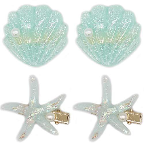 4 Pack Pearl Starfish Hair Clip Set for Women Girls, Acrylic Resin Alligator Hair Clips, Fashion Sweet Beach Hair Accessories - Green