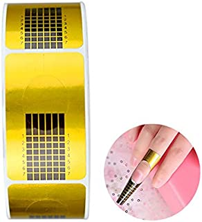 G2PLUS Nail Form Guide Stickers for Acrylic Nail Art Tips/Gel Nail Polish Extensions (1 Roll / 500 PCS - Gold)