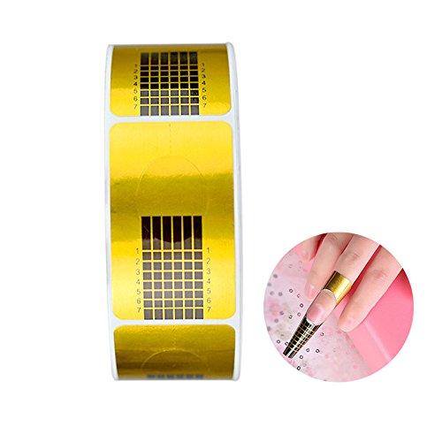 G2PLUS 500 Stück Nagelschablonen Selbstklebende Verlängerungsfolie Modellierschablonen Modellier für künstliche Fingernagel (Gold 2)