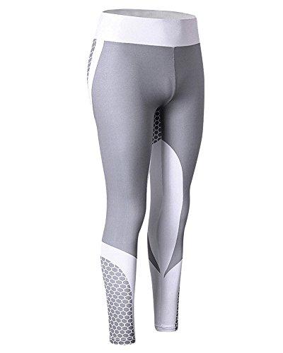ZhuiKun Damen Sport Yoga Pants Fitness Tights Running Workout Hosen Weiß L