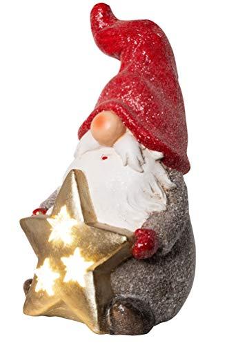 Wichtelstube-Kollektion XL Wichtel Figuren rot Weihnachten 37cm mit LED Stern Weihnachtsdeko aussen