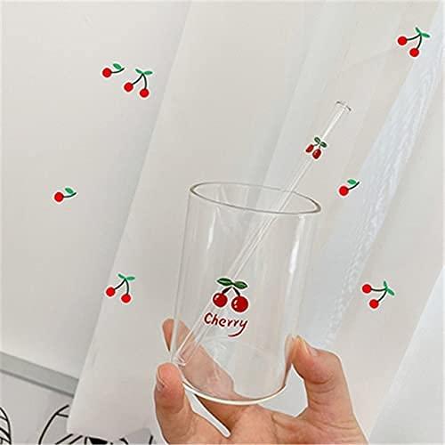 TFJJSQA Especial/Simple Taza de Cristal nórdica Linda de 300ml con Vidrio Resistente al Calor de la Leche de Agua Transparente Creativa de la Paja (Color : Cherry Straw)