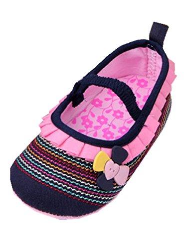 YICHUN Bébé Fille Chaussures de Premier Pas Fleur Antidérapant Robe Chaussures Souples (Longueur d'Intérieur :12cm, Bleu Foncé)
