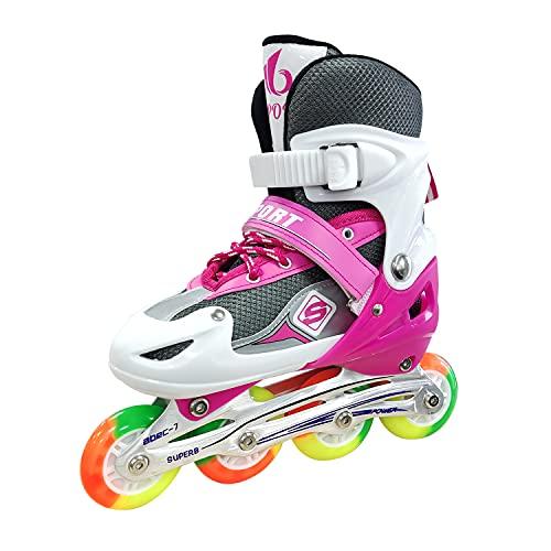Patines en línea para niños, tamaño ajustable, con ruedas de poliuretano, triple protección, ligeros para principiantes, para niñas y niños (26-32), color rosa