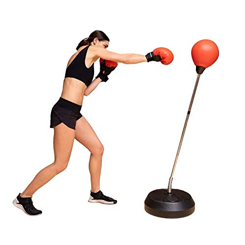 K-DD Boxsack Boxsack Mit Ständer, Geschwindigkeitsverstellbarer Freistehender Boxsack Core Training Gewichtstasche, Multifunktionaler 3-In-1- Ideal Für Stressabbau Und Fitness