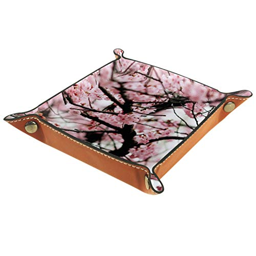 Bandeja de Valet Cuero para Hombres - Flores de Cerezo Rosa - Caja de Almacenamiento Escritorio o Aparador Organizador,Captura para Llaves,Teléfono,Billetera,Moneda