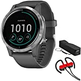 Garmin 010-02174-01 Vivoactive 4 Smartwatch, Shadow Gray/Stainless Bundle with Deco Gear Magnetic...