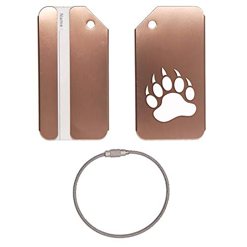 Animal Grizzly Bear Paw Print Stainless Steel - Engraved Luggage Tag - Set Of 2 (Coffee) - For Any Type Of Luggage, Suitcases, Gym Bags, Briefcases, Golf Bags